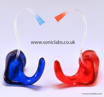 red and blue earmoulds